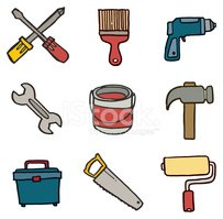 Tool and equipment doodle icons