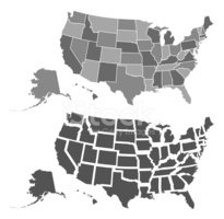 USA,Map,Vector,Gray,Silhoue...