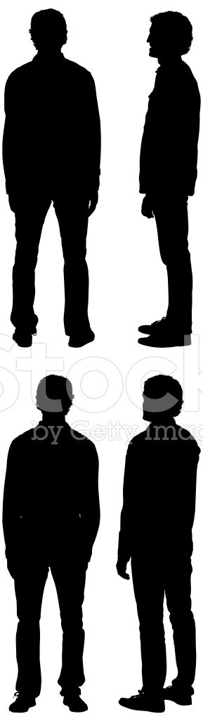 silhouette man standing front side back views stock