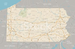 Pennsylvania,Map,Road Map,s...
