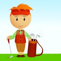 Golf,Cartoon,Men,Cap,Vector...