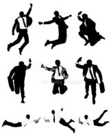 Jumping,Silhouette,Suit,Men...