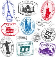 Travel,Rubber Stamp,Postage...