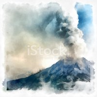 Volcano,Watercolor Painting...