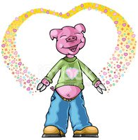 Pig,Pink Color,Love,Heart S...