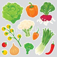 Healthy vegetable food icons