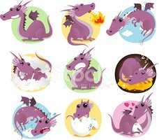 Dragon,Cartoon,Set,Symbol,F...