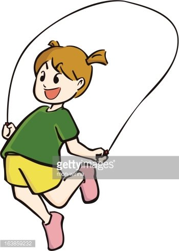 little girl skipping the rope