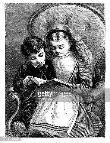 Girl And Boy Sitting Reading A Book 1868 Magazine Stock Vectors