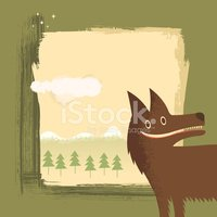 Happy Hunter wild whacky wolf character illustration