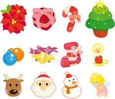 cartoon Christmas element icons set