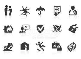 Illustrated set of 15 insurance-related icons