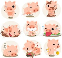 Pig,Cute,Cartoon,Piglet,Ani...