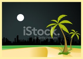 Palm Tree,Beach,Moon,Night,...