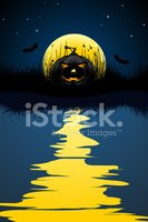 Water,Moon,Silhouette,Refle...