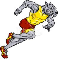 Wolf,Running,Mascot,Athlete...