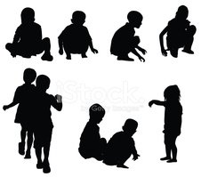 Child,Silhouette,Sitting,Cr...