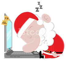 Santa Claus,Tired,Laptop,Sl...