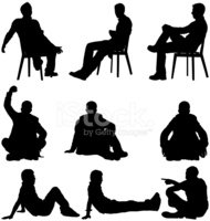 Sitting,Silhouette,People,M...