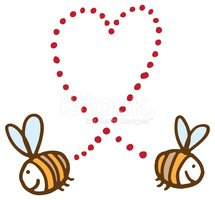 Two bee love heart shape