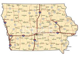 Iowa,Map,Highway,Cartograph...