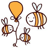 Three bees with a yellow balloon