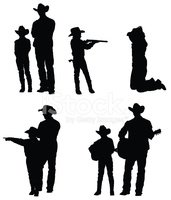 Silhouette,Cowboy,Father,So...