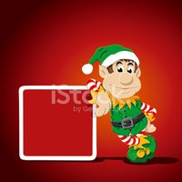Elf,Christmas,Sign,Leaning,...