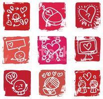 Online dating and romance icon set
