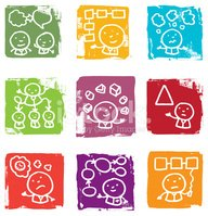 Networking and office doodle block icon set