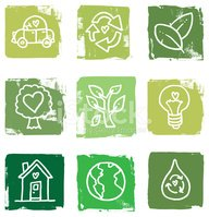 Recycling block green icon set