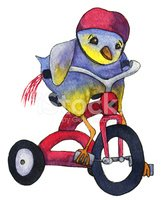 Bird,Cycling,Tricycle,Ilust...