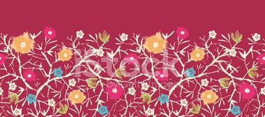 Blossoming Tree Painted Horizontal Seamless Pattern Ornament