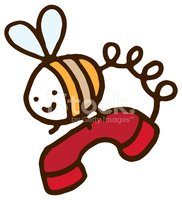 Cute little bee carrying a telephone
