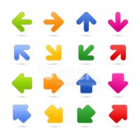 Arrow sign icon web button with shadow on white background