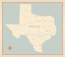 Texas,Map,Retro Revival,Old...