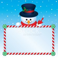 Snowman and Candy Cane Frame