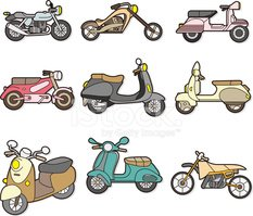 Motorcycle,Cute,Symbol,Cart...