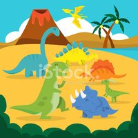 Dinosaur,Volcano,Cartoon,Ty...