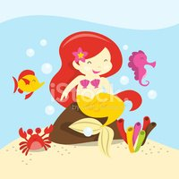 Mermaid,Sea Life,Cartoon,Cu...