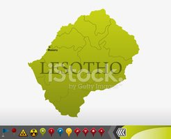 Lesotho,Map,Southern Africa...
