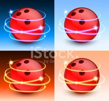 Bowling Ball with Abstract Lights on Color Background