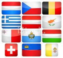 Rounded rectangle flag icons - Europe