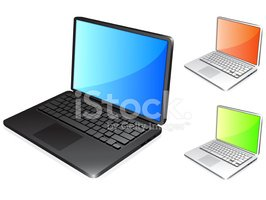 thin modern Laptop in chrome and black