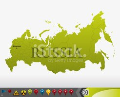 Russia map with navigation icons