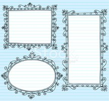 Picture Frame Borders Notebook Doodles Vector Set