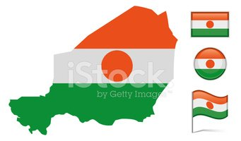 Niger,Map,Isolated,Flag,Tra...