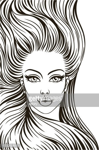 silhouette of a woman with long hair stock vectors