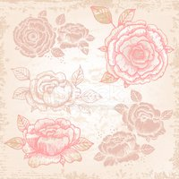 Hand-drawn roses in vintage style
