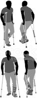 Crutch,Physical Injury,Silh...